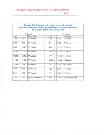 Pep rally schedule changed