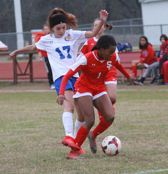 Freshman Dahjah Lewis fights a Cumberland player for control of the ball.