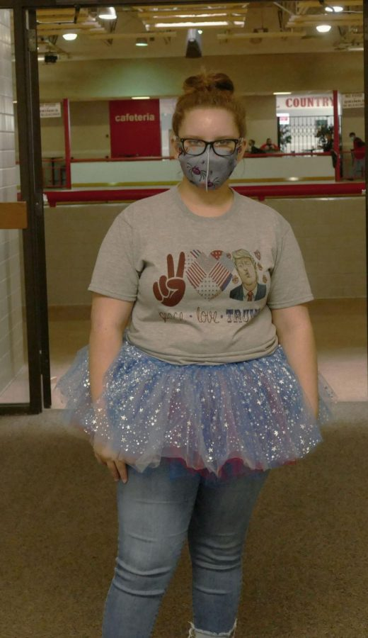 """Freshman Allison Fouse shows her patriotism during """"Red, White, and Blue"""" day Oct. 30."""